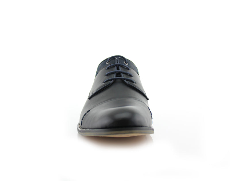 Black Suede Spring Season Oxford Lace-Up Shoes Alexander Front