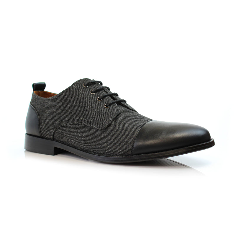 Black lace up gray wool black cap toe dress shoes primary image by Polar Fox