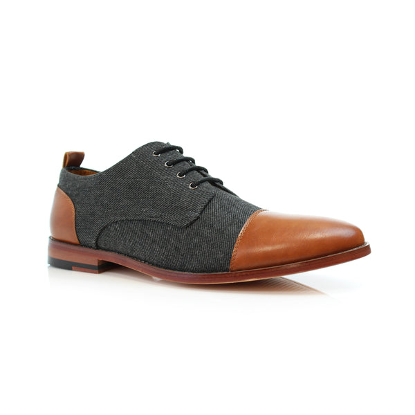 brown lace up gray wool black cap toe dress shoes primary image by Polar Fox