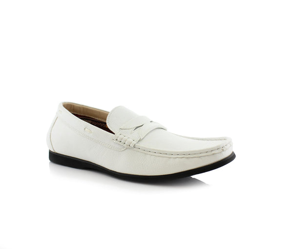 White Penny Loafer Slip On Shoes Polar Fox Caden Side View