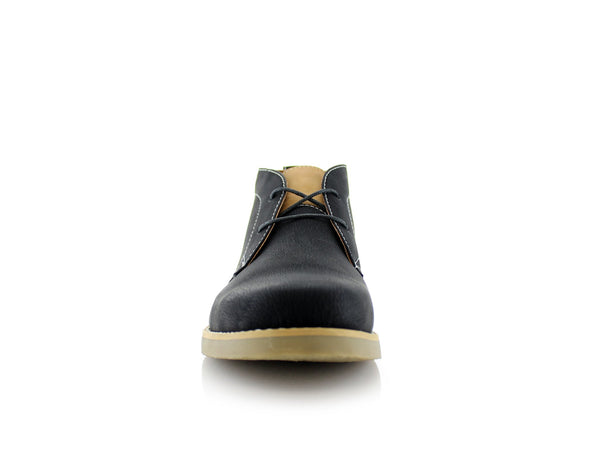 Men's Low Ankle Simple Design Shoes Black Color Elliot Front View