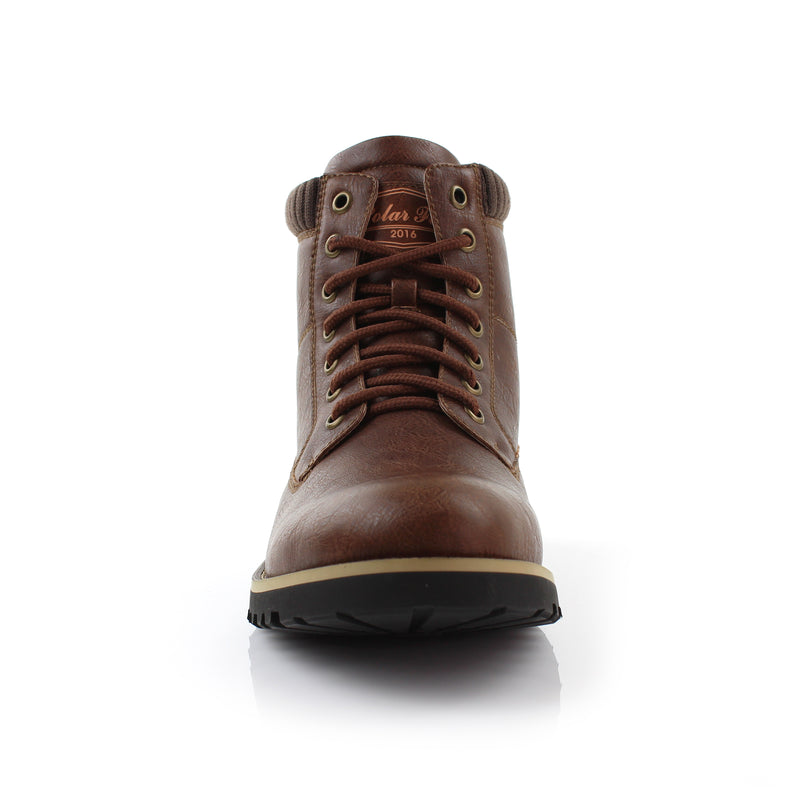 Brown Men's Casual Boots To Wear With Jeans Polar Fox Winter Front View