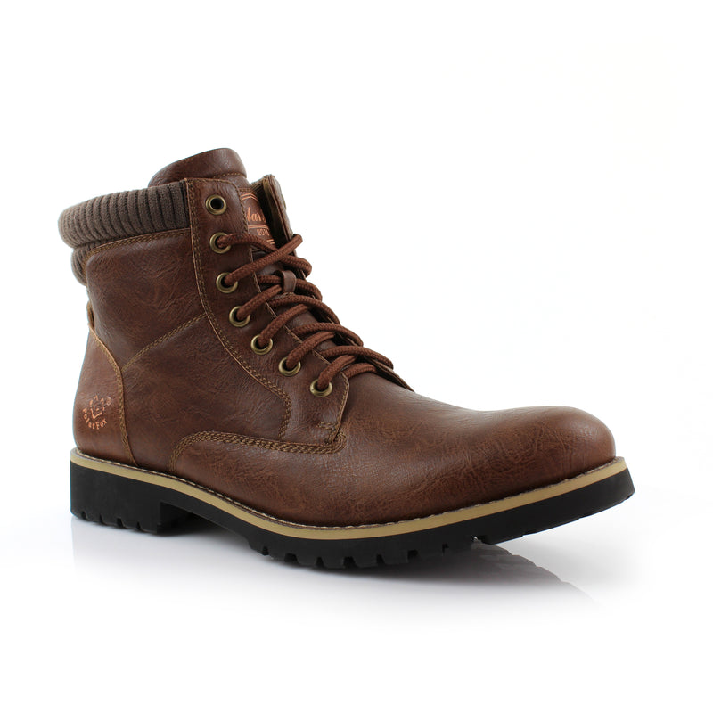 Brown Men's Winter Casual Boots Shoes Lace Up Round Toe