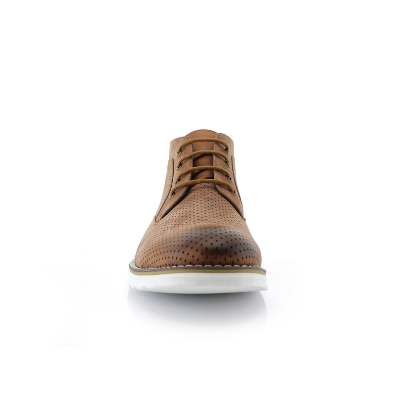 Brown Memory Foam Chukka Boots Walker Front View