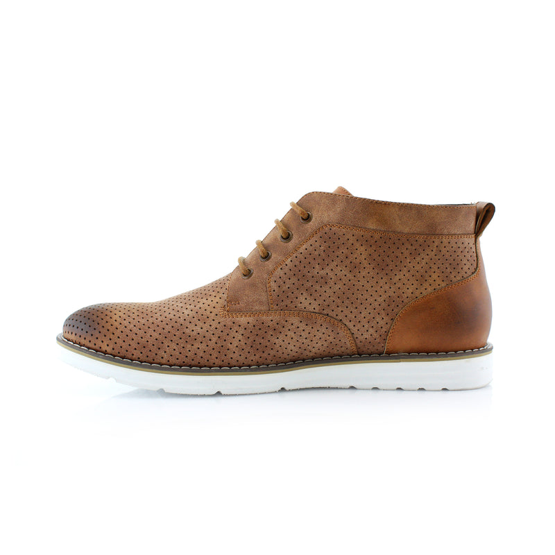 Brown Memory Foam Chukka Boots Walker Side View