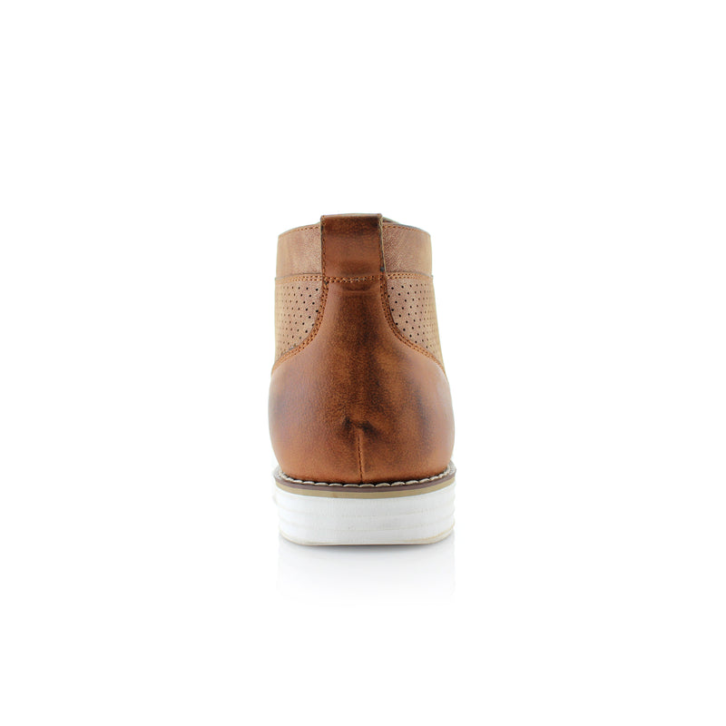 Brown Memory Foam Chukka Boots Walker Back View