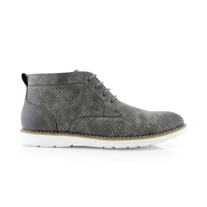 Gray Memory Foam Chukka Boots Walker Side View
