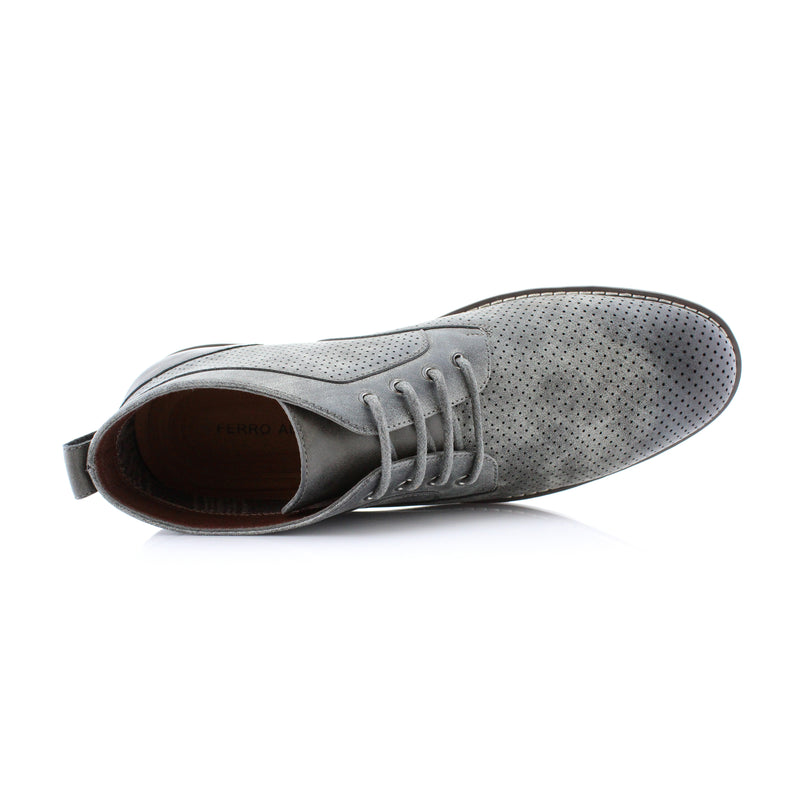 Gray Memory Foam Chukka Boots Walker Top View