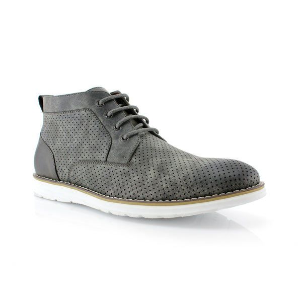 Memory Foam Chukka Boots | Walker | Perforated Boots For Men | CONAL FOOTWEAR