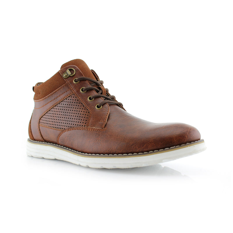 Brown Mens Memory Foam Chukka Sneakers Comfortable Shoes Side View