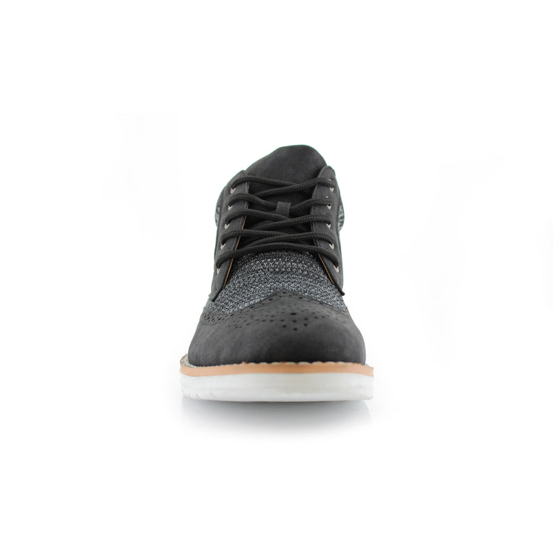 Polar Fox Colbert Casual Mid-Top Black Sneaker Front View