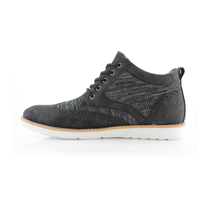 Polar Fox Colbert Casual Mid-Top Black Sneaker Side View