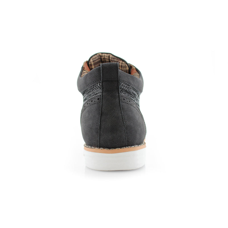 Polar Fox Colbert Casual Mid-Top Black Sneaker Back View