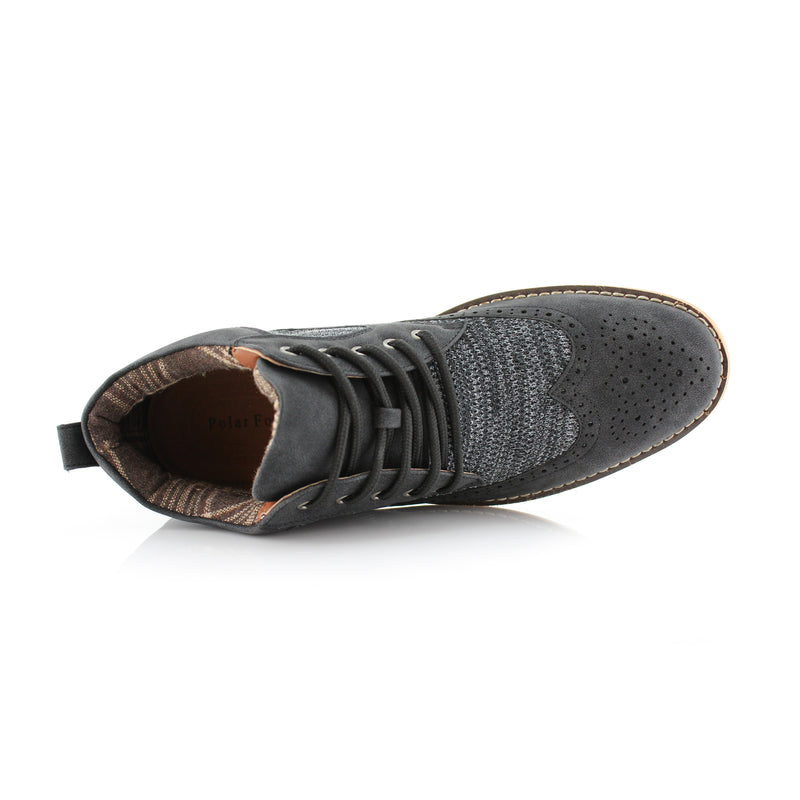 Polar Fox Colbert Casual Mid-Top Black Sneaker Overlook View