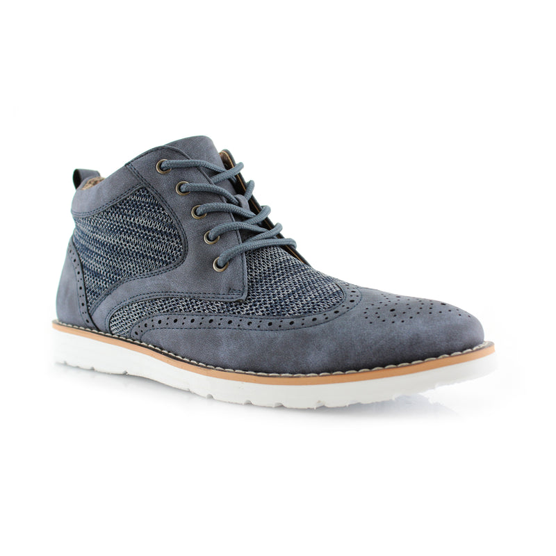 Polar Fox Colbert Casual Mid-Top Blue Sneaker Side View