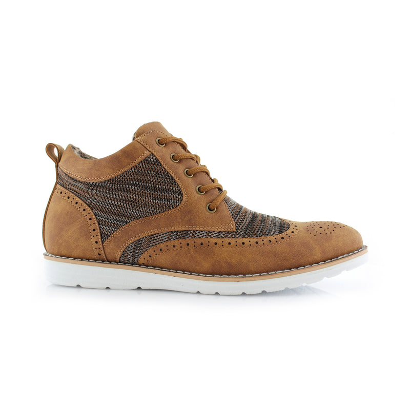 Polar Fox Colbert Casual Mid-Top Brown Sneaker Side View