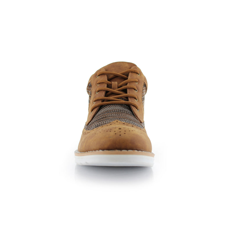 Polar Fox Colbert Casual Mid-Top Brown Sneaker Front View