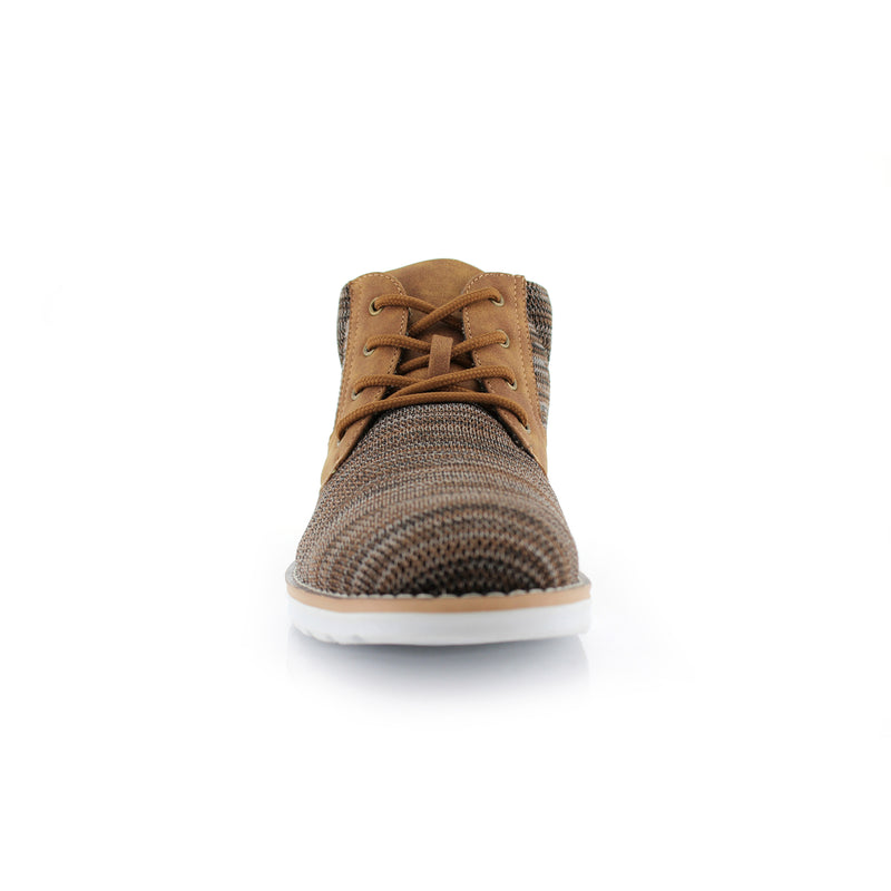 Brown Knitted Sneaker Boots Men Bohort Front