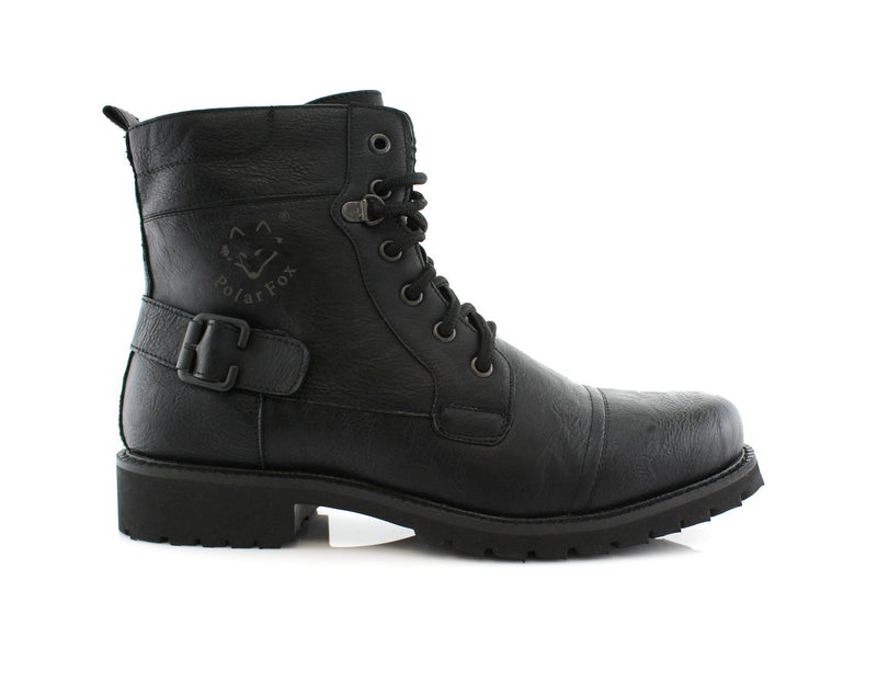 Men's Fashion 2020 Black Motorcycle Combat Riding Boots Fabian Side