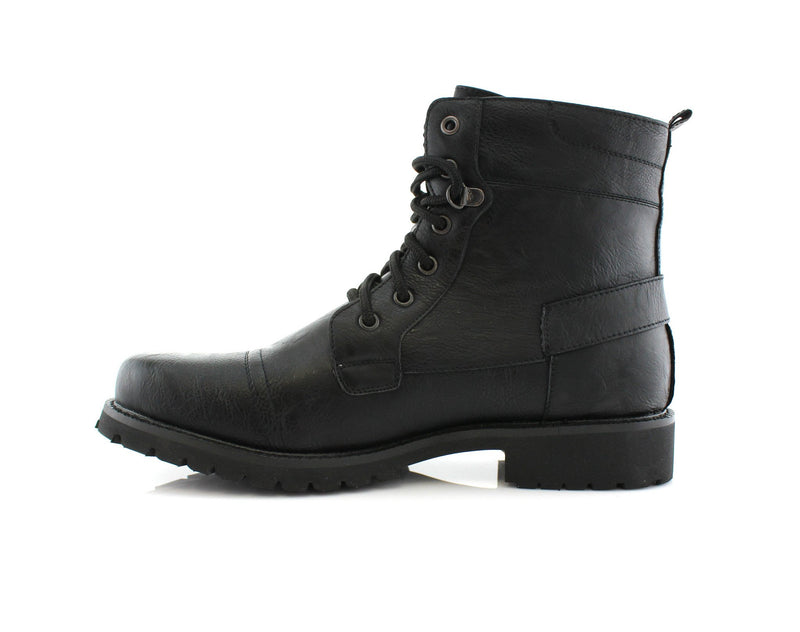 Men's Fashion 2020 Black Motorcycle Combat Riding Boots Fabian Side View