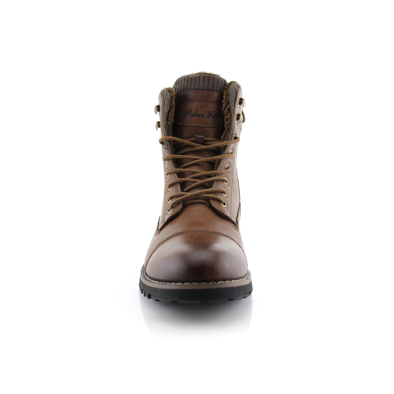 Brown Combat Motorcycle Zipper Boots for Men Brady Front