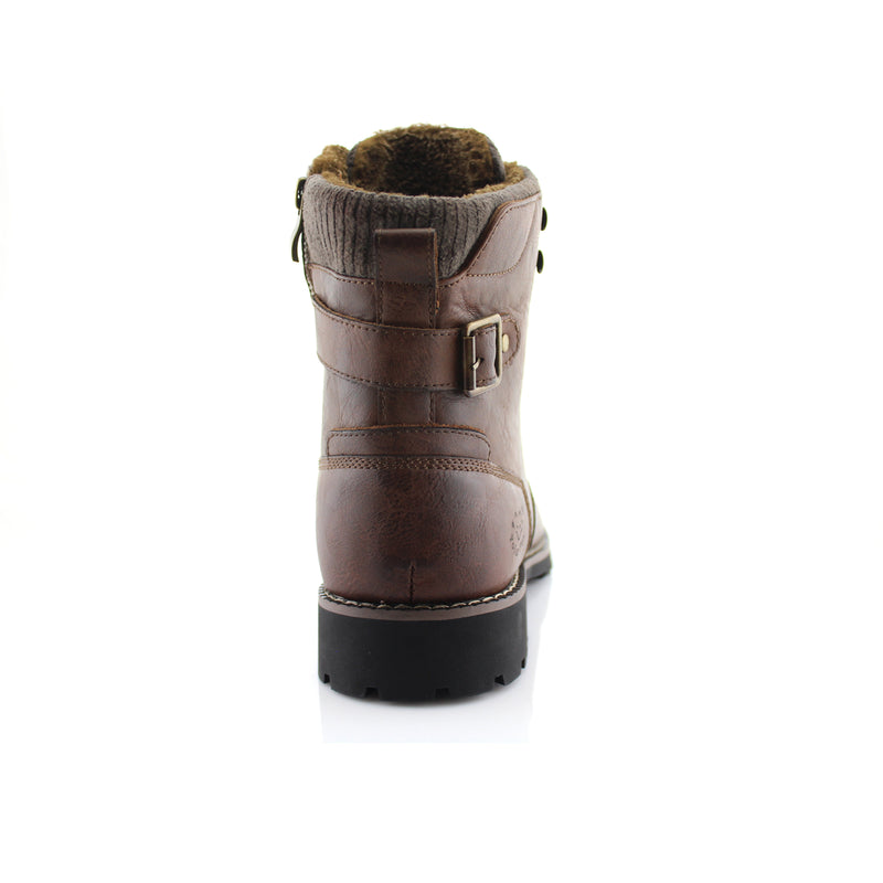 Brown Combat Motorcycle Zipper Boots for Men Brady Back