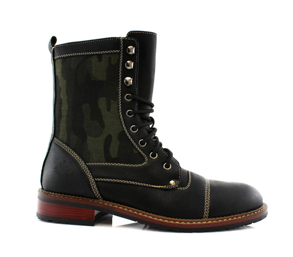 Camouflage Black High Top Men's Boots side View