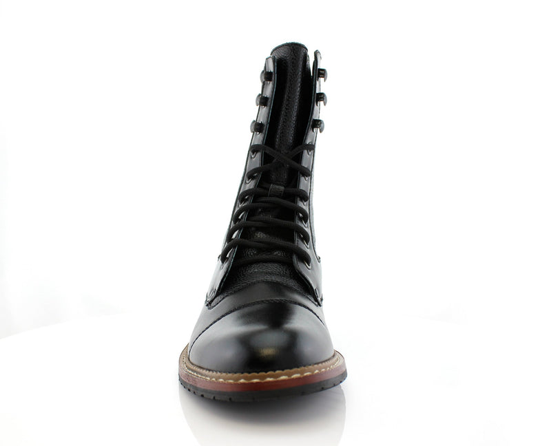 Black Cap Toe Synthetic Leather Litchi Grain High Top Boots Front View