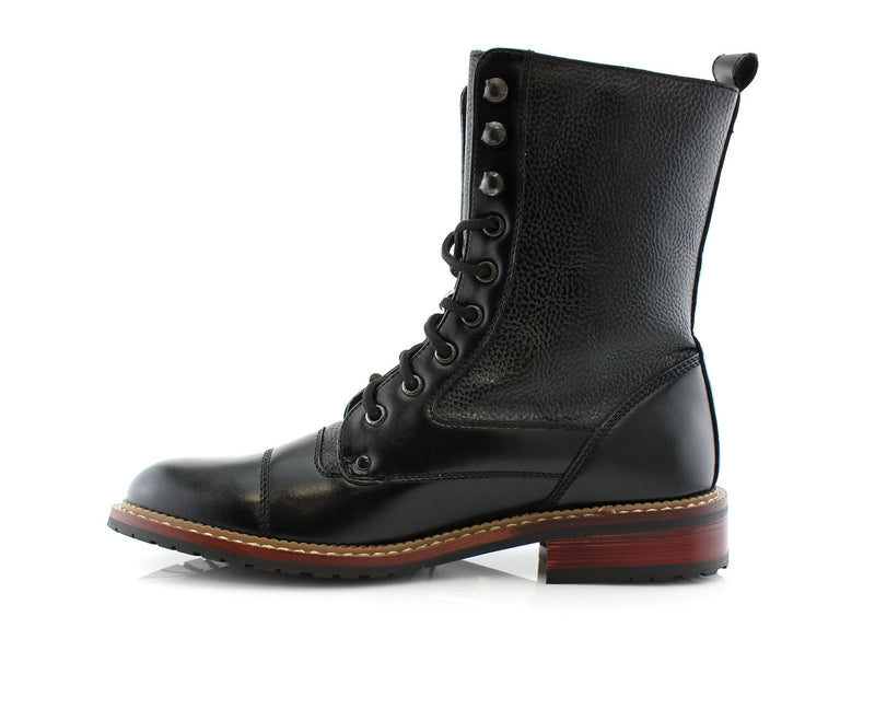 Black Cap Toe Synthetic Leather Litchi Grain High Top Boots Side View