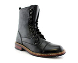 Cap Toe Synthetic Leather Litchi Grain High Top Boots