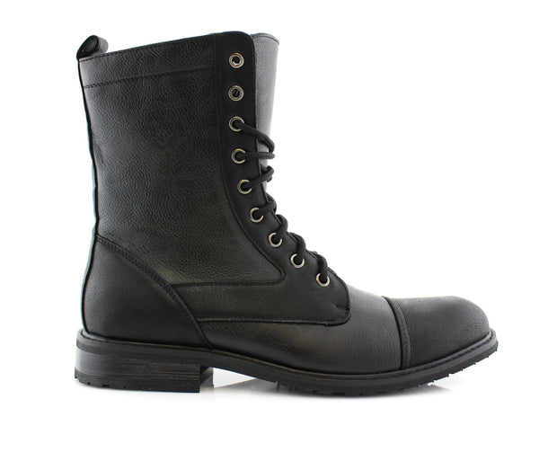 Durable And Reliable Men's Motorcycle Riding Black Boots Luke Side View