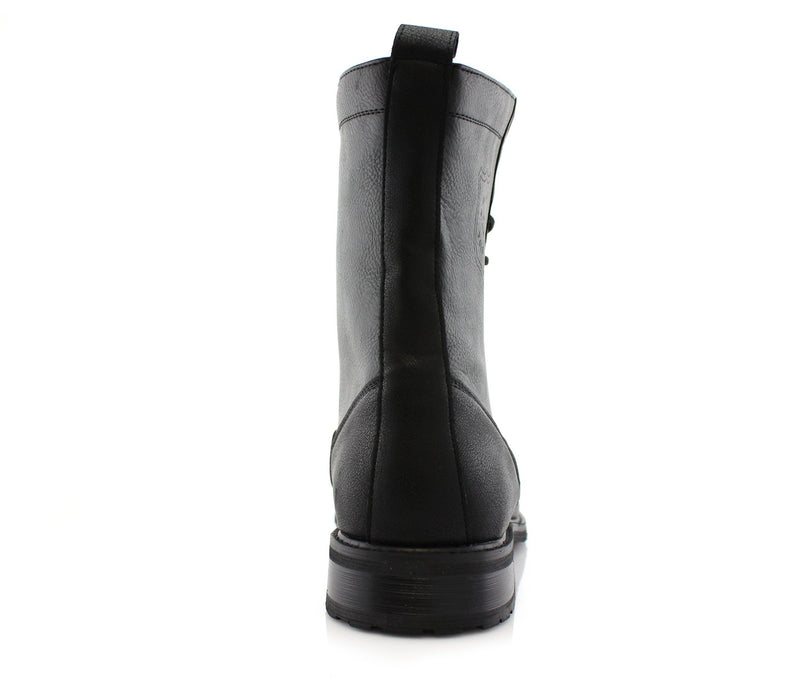 Durable And Reliable Men's Motorcycle Riding Black Boots Luke Back View