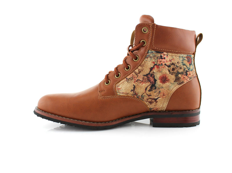 Flower Print Men's Casual Designer Brown Boots Harry Side View