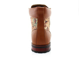 Flower Print Men's Casual Designer Brown Boots Harry Back View
