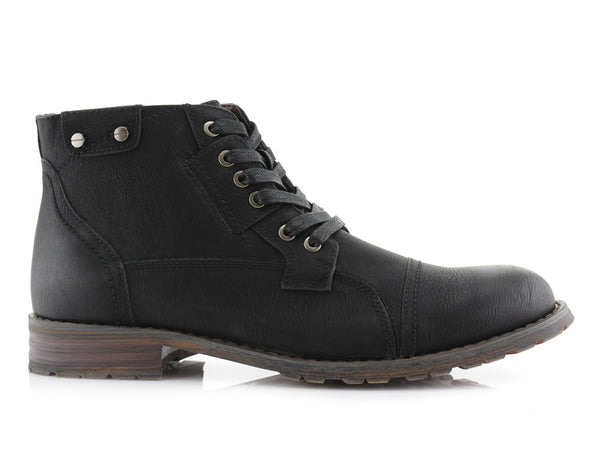 Black Classic Motorcycle Combat Boots Ronny Side