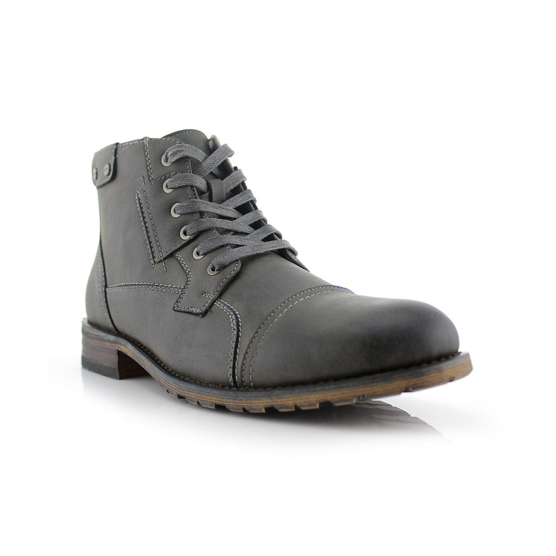 Dark Gray Classic Motorcycle Combat Boots Ronny Side
