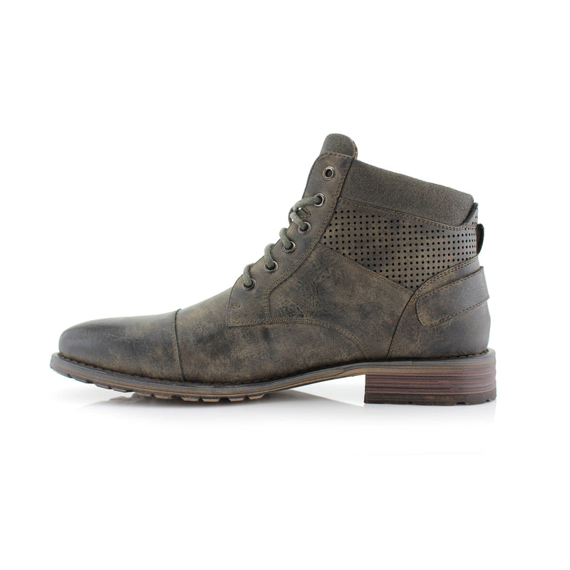 Brogue Motorcycle Mid Top Suede Boots- CHRISTOPHER- Polar Fox - CONAL FOOTWEAR Since 1983