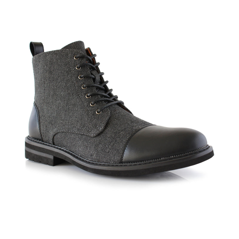 Polar Fox gray textile woolen boots for men with black leather toe