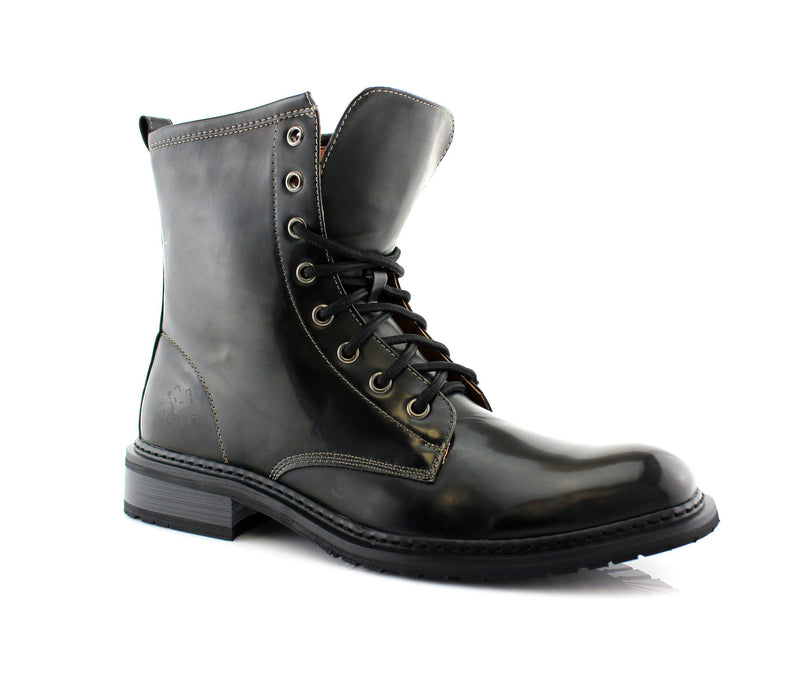 Dark Gray Mid Top Men Combat Boots Cool Street Fashion Style Side View