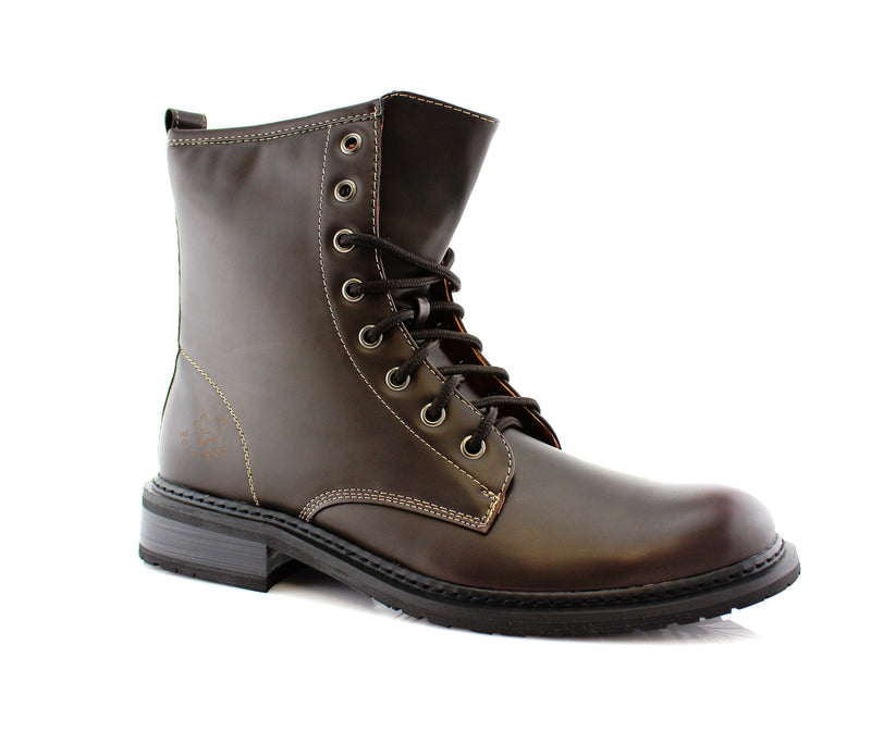 Brown  Mid Top Men Combat Boots Cool Street Fashion Style Side View