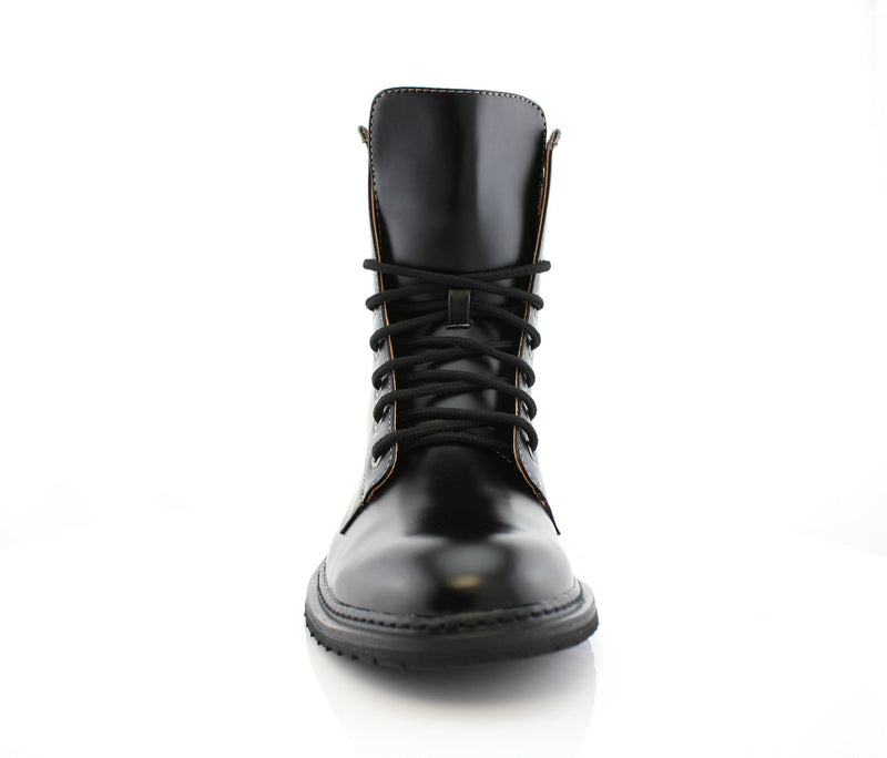 Black Mid Top Men Combat Boots Cool Street Fashion Style Front View