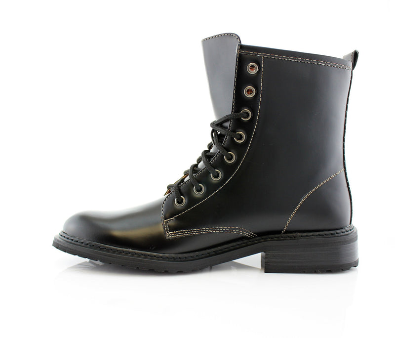 Black Mid Top Men Combat Boots Cool Street Fashion Style Side View
