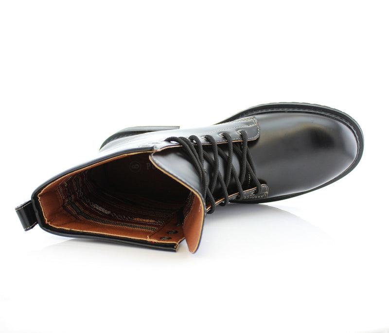 Black Mid Top Men Combat Boots Cool Street Fashion Style Top View