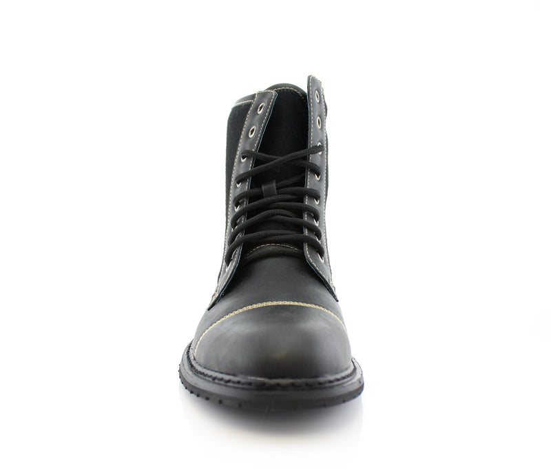 Black Casual Boots To Wear With Jeans Front  View