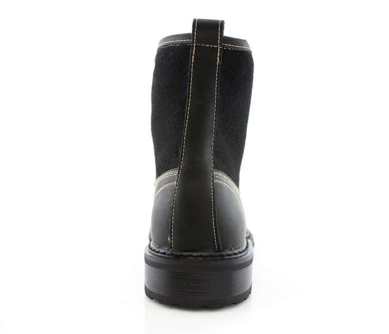 Black Casual Boots To Wear With Jeans Back View
