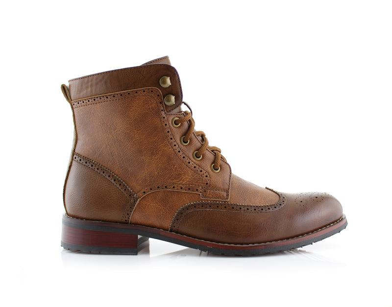Brown Brogue Wing tip Western Boots Jonah Side View