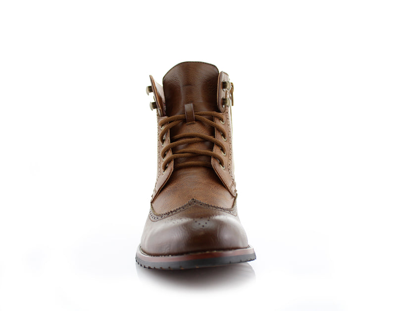 Brown Brogue Wing tip Western Boots Jonah Front View