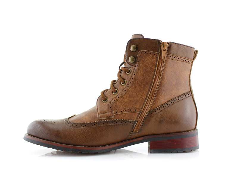 Brown Brogue Wing tip Western Boots Jonah Side View with Zipper