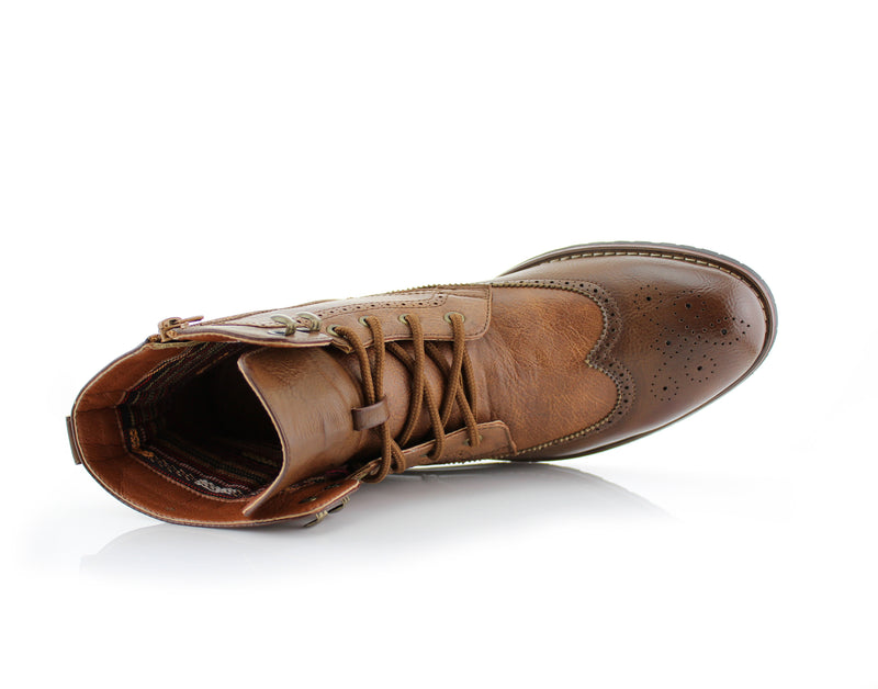 Brown Brogue Wing tip Western Boots Jonah Bottom View