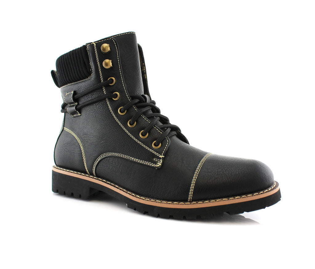 Men's Synthetic Black Leather Hiking Boots Nicholas Side View